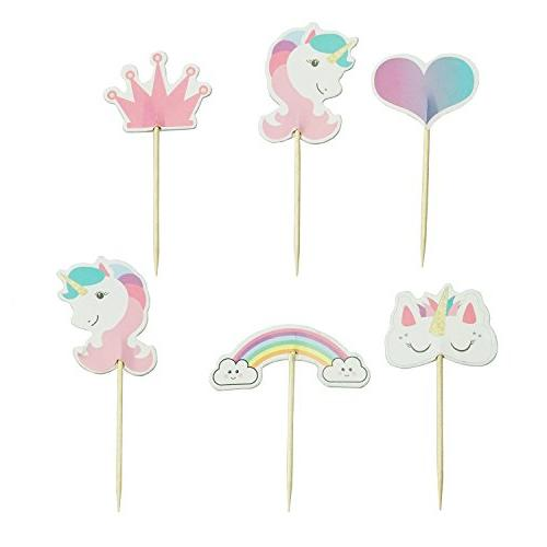 unicorn cupcake toppers rainbow heart