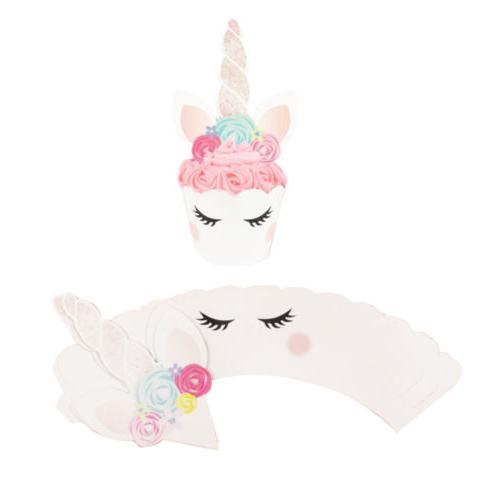 24Pcs/Set Unicorn Cupcake Toppers Wrappers Sided Cake Decoration
