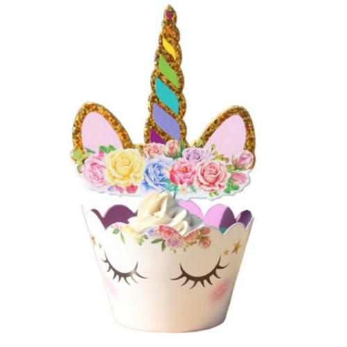 24Pcs/Set Unicorn Cupcake Toppers Wrappers Double Cake US
