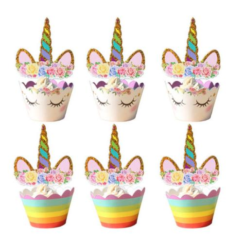 24Pcs/Set Unicorn Cupcake Wrappers Party Cake Decoration