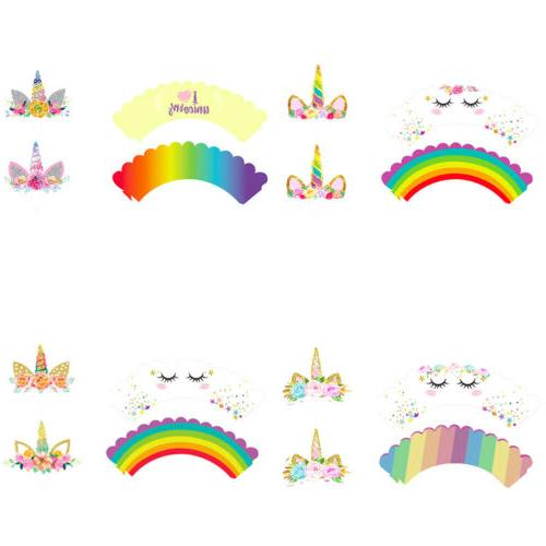 24Pcs/Set Unicorn Cupcake Wrappers Cake US