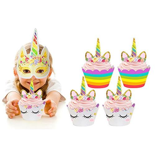 unicorn cupcake toppers wrappers double