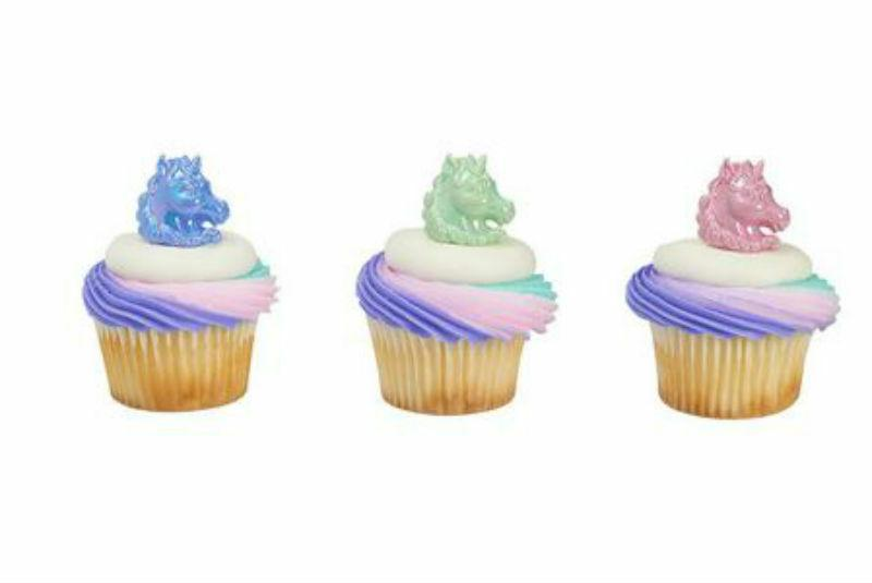 Unicorn iridescent cupcake rings  party favor cake topper 2
