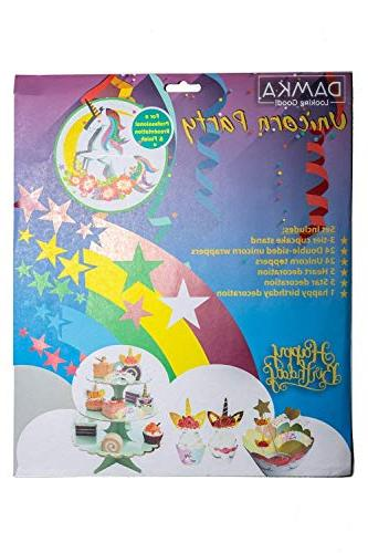 Unicorn Decorations | Rainbow 3-Tier Sign, 24 Toppers, 5 Stars Recipes