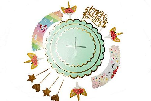 Unicorn Toppers Wrappers Birthday Decorations Rainbow Liners | Dessert Stand, Happy Sign, 24 Toppers, Recipes