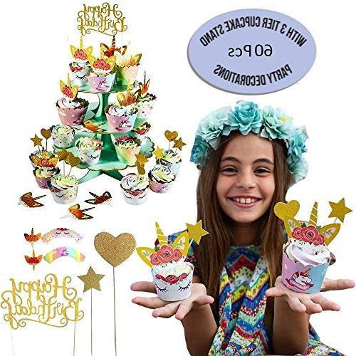 Unicorn Cupcake And Wrappers | Party Decorations Double Rainbow | Dessert Sign, 24 Toppers, Stars | incl. Recipes