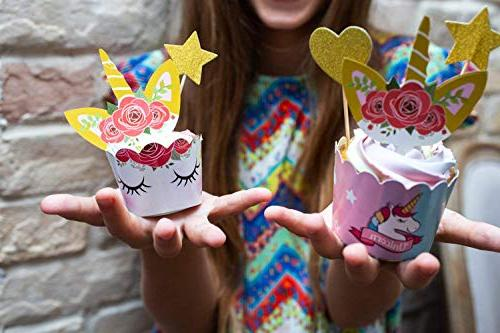 Unicorn Cupcake Toppers Wrappers | Party Decorations Rainbow Dessert Stand, Sign, Toppers, 5 Stars incl. Recipes