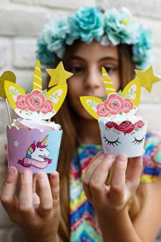 Unicorn Cupcake Toppers And Wrappers Decorations | Rainbow Liners | Dessert Happy Sign, Wrappers, 24 Toppers, 5 Stars | Recipes Ebook