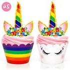 Unicorn Party Supplies Cupcake Toppers Wrappers Set Of 24 |