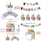 Unicorn RAINBOW Happy Birthday Letter Banner W Cupcake Wrapp