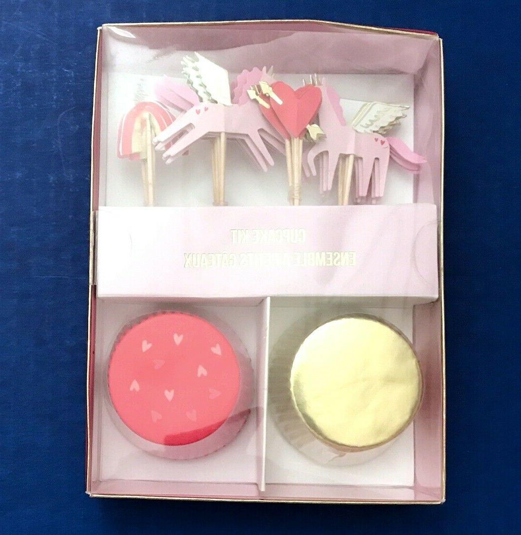 unicorn rainbow heart cupcake cups cases