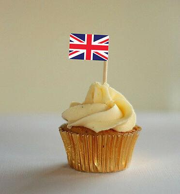 UNION JACK CUPCAKE FLAG - Cupcake Decorations / Cocktail Fla