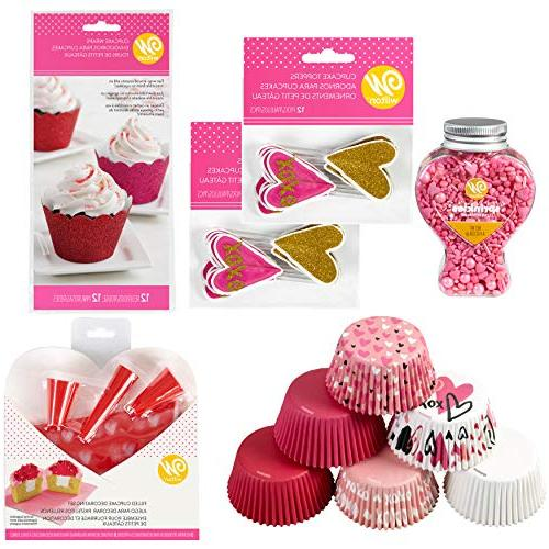 valentine day glitter cupcake decorating