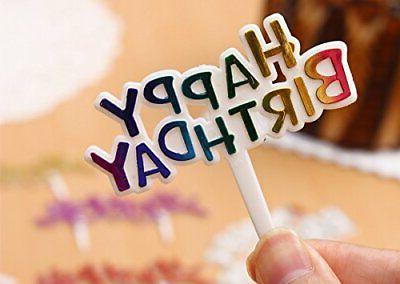 Warmtree Colourful Birthday Cupcake Picks