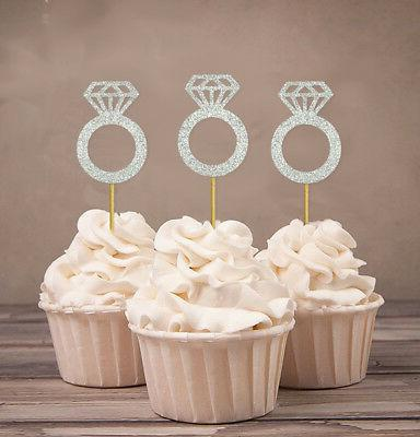 wedding engagement ring cupcake toppers party dessert