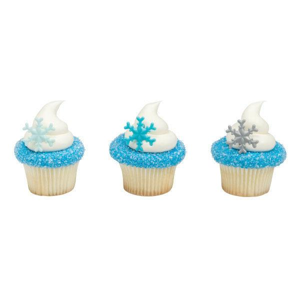 winter cake toppers frosted snowflakes cupcake rings