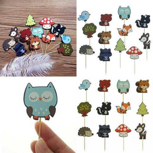 Woodland Creatures Theme Cupcake Toppers Forest Animals Frie