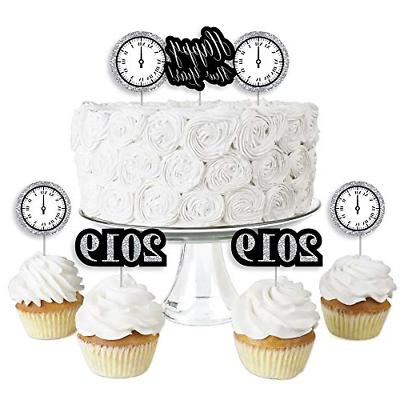 Year's Eve - Silver - Dessert Cupcake Toppers - New Years Ev