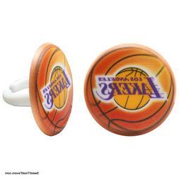 Lakers Basketball CupCake Cake Topper 12 18 24 Favor Decorat