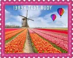Landscape of Netherlands of Tulips with Hot Air Balloon - Ed