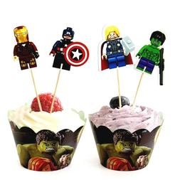LEGO AVENGERS Cupcake 12Warpper & 12toppers,Kids Party Favor