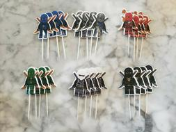 LEGO Ninjago Ninja Cupcake Toppers Picks Kids Birthday Party