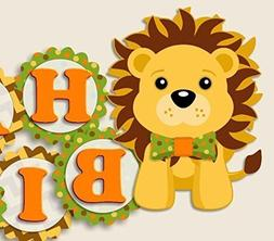 "Lion Birthday Party Banner with Bow Tie - Supplies""HAPPY BIR"