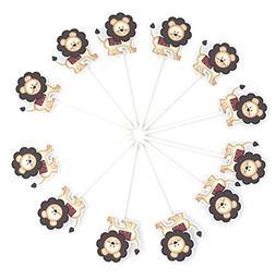 Lion Cupcake Toppers 12 pcs - Lion Party Supplies - Lion Bab