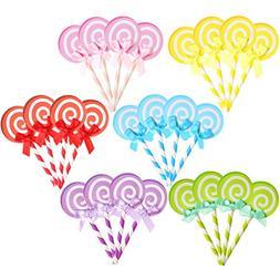 WinWitem 24 PCS Lollypop Bak Cake Cupcake Topper Party Decor