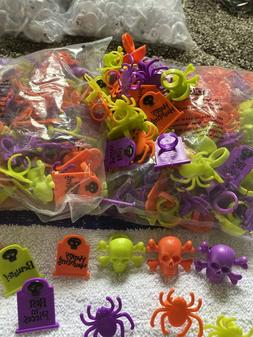 LOT OF 24 HALLOWEEN CUPCAKE DECORATIONS TOPPERS RING TOMBSTO