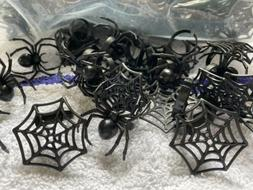 LOT OF 24 HALLOWEEN CUPCAKE DECORATIONS TOPPERS RINGS SPIDER