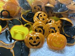 LOT OF 24 HALLOWEEN CUPCAKE DECORATIONS TOPPERS RINGS JACK O