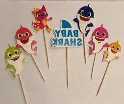 Lot Of 24 Pink Fong Baby Shark Cupcake Toppers