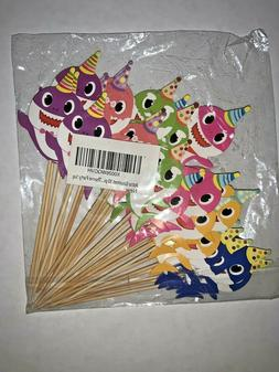BABY SHARK LOT OF 30 CUPCAKE TOPPERS  MOMMY DADDY GRANDMA GR