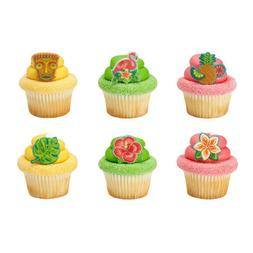 Luau Cake Toppers Polynesian Flair Cupcake Rings One Dozen