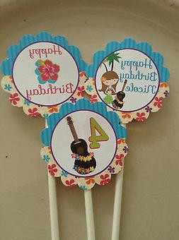 Luau Cupcake Toppers Birthday Party NEW Packed 12 Summer Poo