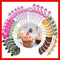 Luau Cupcake Toppers Hawaiian Cake Decorations 60 Pcs Tropic