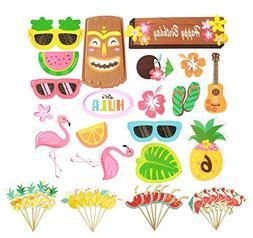 42Pcs Luau Hawaii Cupcake Toppers for Hawaiian Luau Summer F