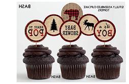 Lumberjack Inspired Cupcake Toppers - Lumberjack Banners - P