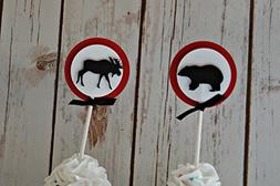 Lumberjack Themed Birthday Party Cupcake Toppers, Forest Ani