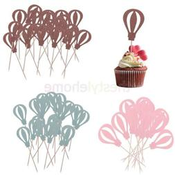 MagIDeal 10pcs Hot Air Balloon Cupcake Picks Cake Toppers Pa