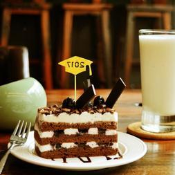 MagIDeal 20pcs 2017 Graduation Cap Cupcake Pick Cake Topper