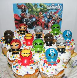 Marvel Avengers Super Hero Deluxe Mini Cake Toppers Cupcake