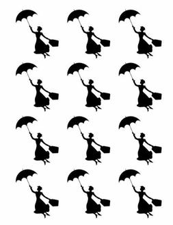 Mary Poppins Cupcake Toppers Edible Image Silhouette Umbrell