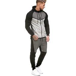 iMakcc Men Patchwork Zipper Sweatshirt Top Pants Sets Sports