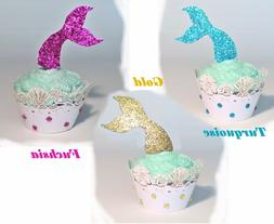 Mermaid cupcake topper set of 12.  Mermaid tail cupcake topp