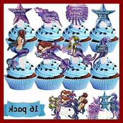 Mermaid Party Decorations – Cake Cupcake Toppers 16 Pack U