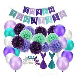 Mermaid Party Supplies Birthday Decorations: Happy Birthday