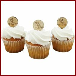 Mermaid Tail Cupcake Toppers Engraved Wood Set Of 12 Decor B
