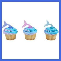 Mermaid Tail Wrap Cupcake Rings - 24 pc